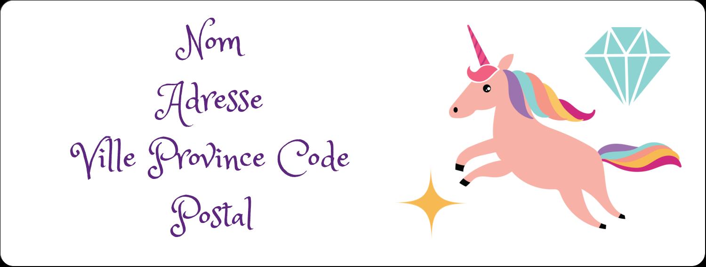 """1"""" x 4"""" Étiquettes d'adresse - Licorne en fête"""