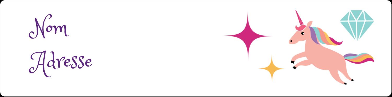 """1⅓"""" x 4"""" Étiquettes d'adresse - Licorne en fête"""