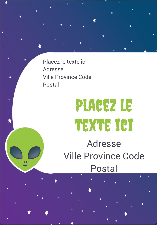 """⅔"""" x 1¾"""" Étiquettes D'Adresse - Fête d'extraterrestres"""