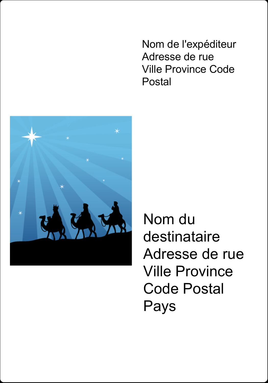 """3½"""" x 5"""" Étiquettes d'expéditions - Trois rois mages"""
