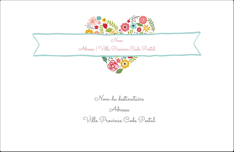 """1½"""" x 4"""" Étiquettes d'adresse - Cœurs et fleurs"""