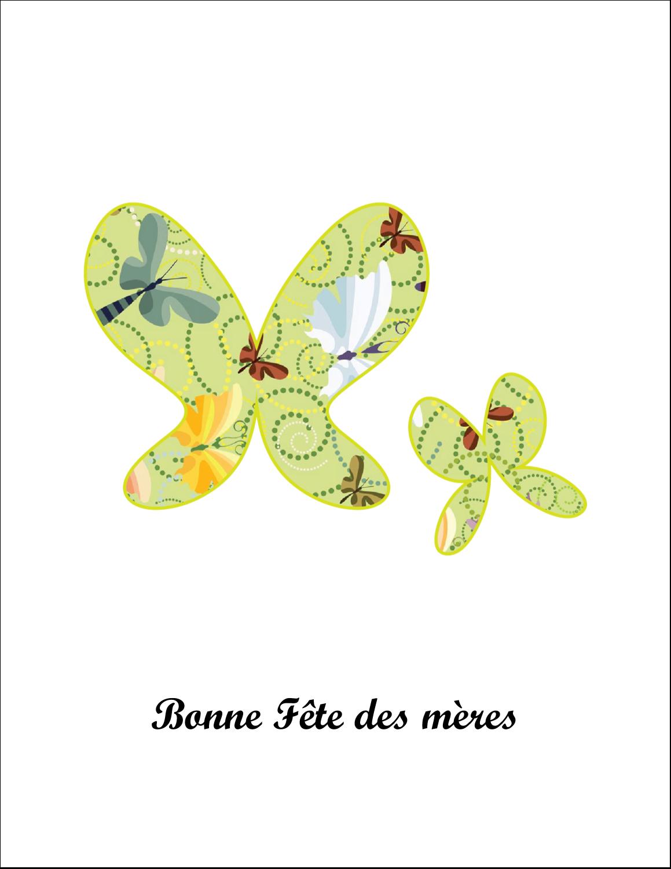 """4¼"""" x 5½"""" Carte de note - Deux papillons"""