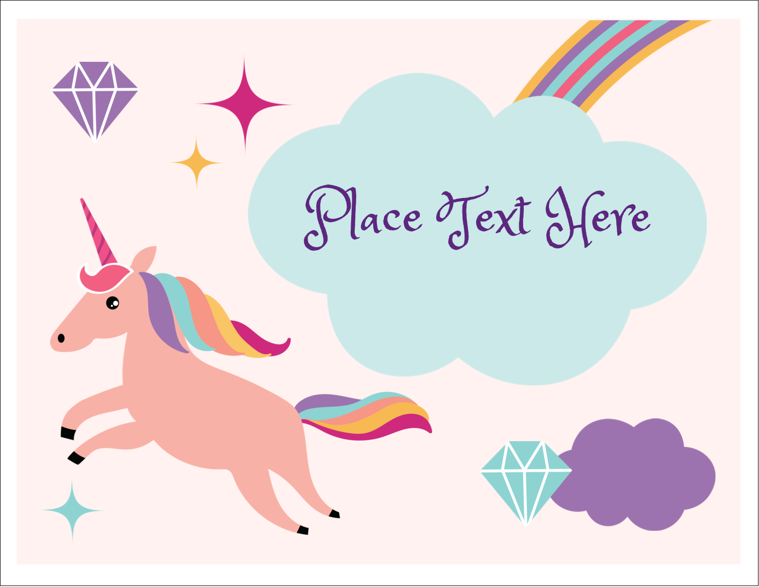 "5½"" x 4¼"" Note Card - Unicorn Party"