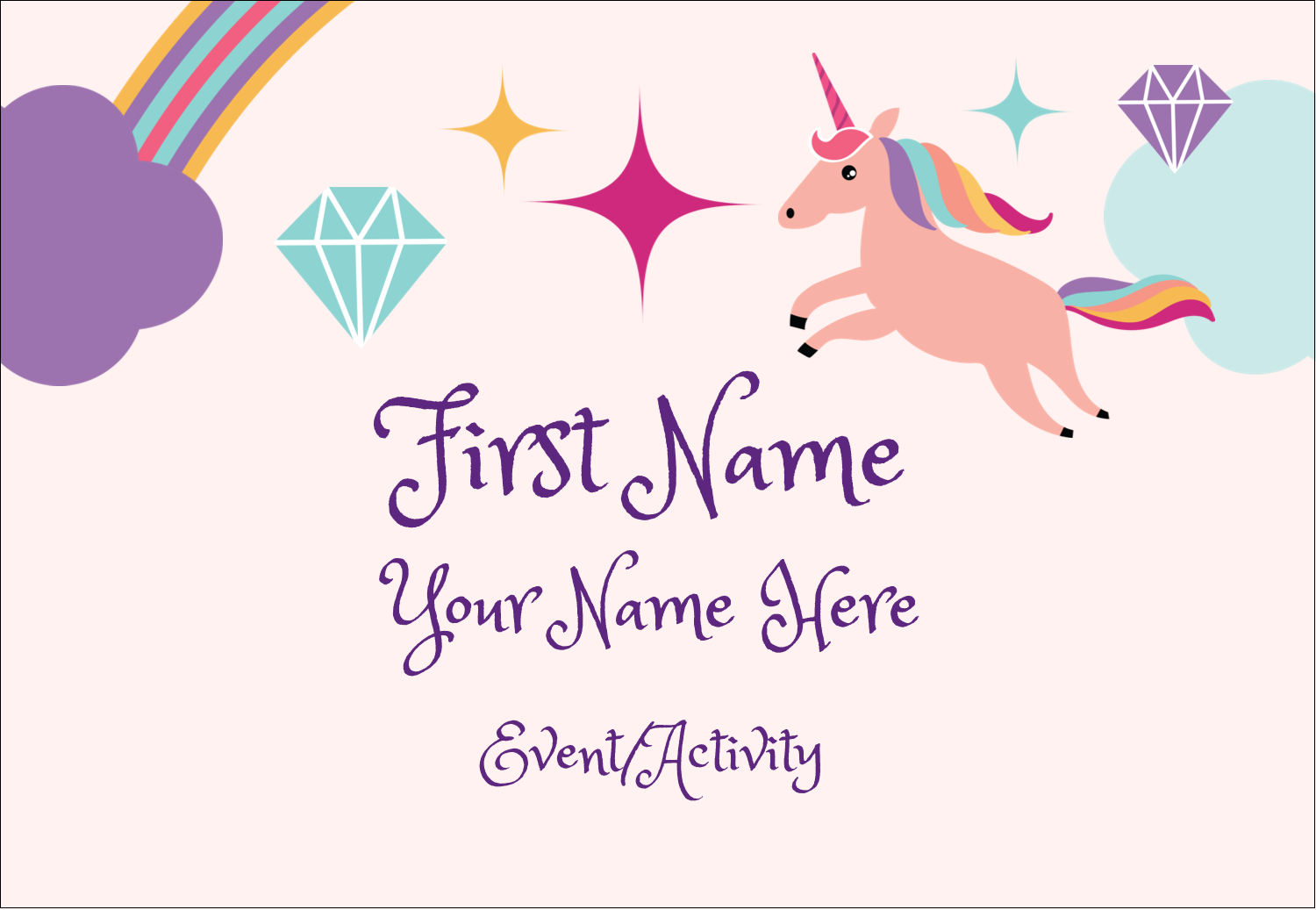"3⅜"" x 2⅓"" Name Badge - Unicorn Party"