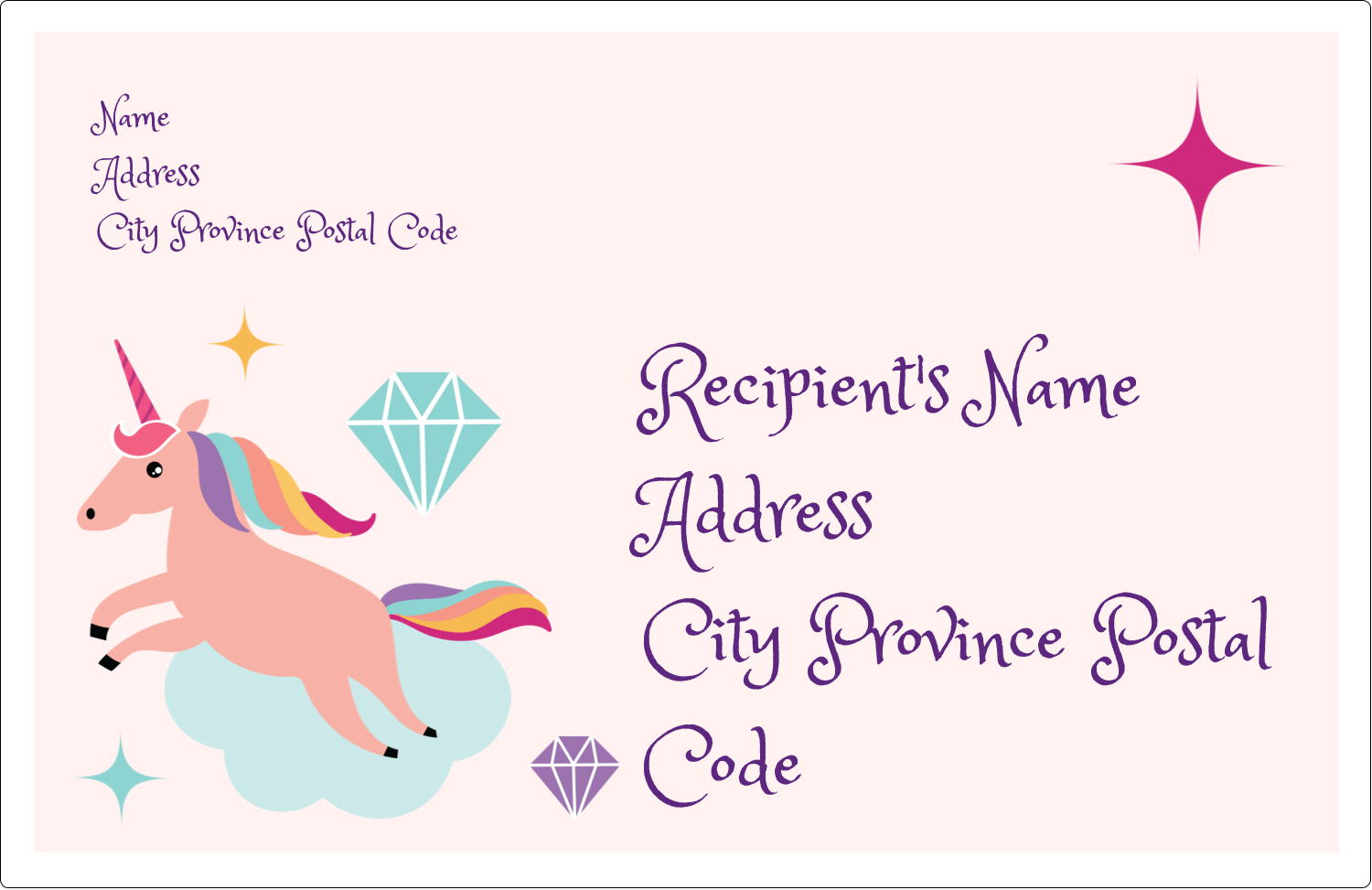 """5½"""" x 8½"""" Shipping Label - Unicorn Party"""