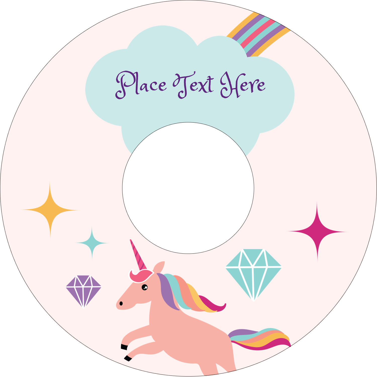 "4.65"" CD-DVD Label - Unicorn Party"