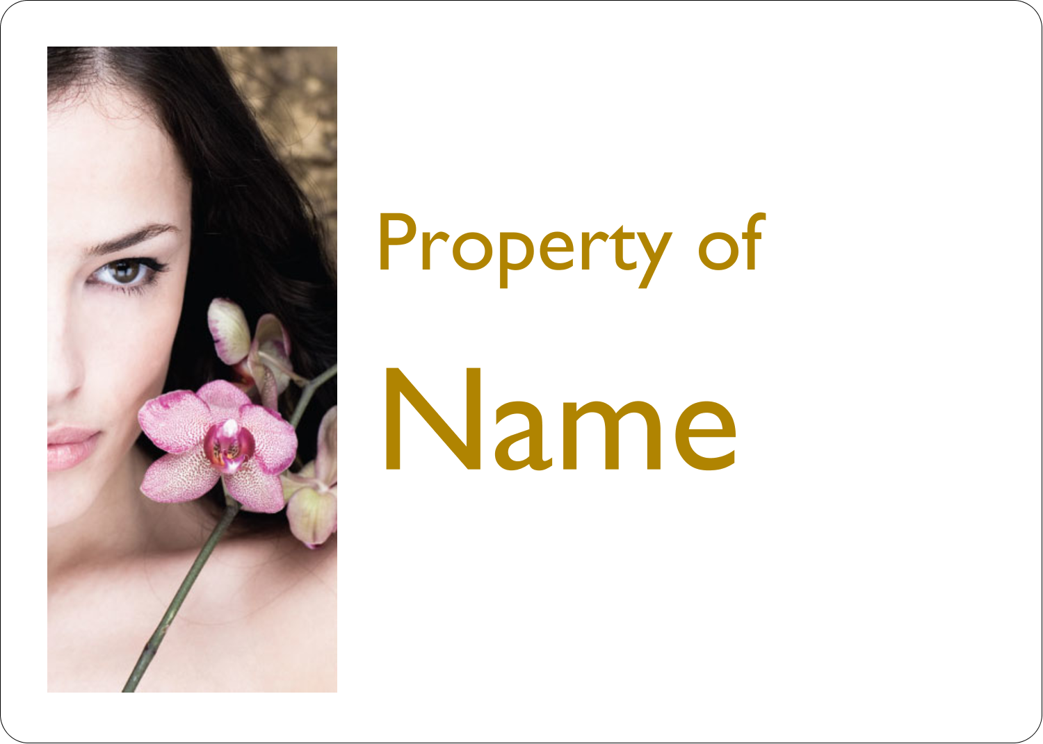 "1¾"" x 1¼"" ID Label - Beauty Orchid Woman"