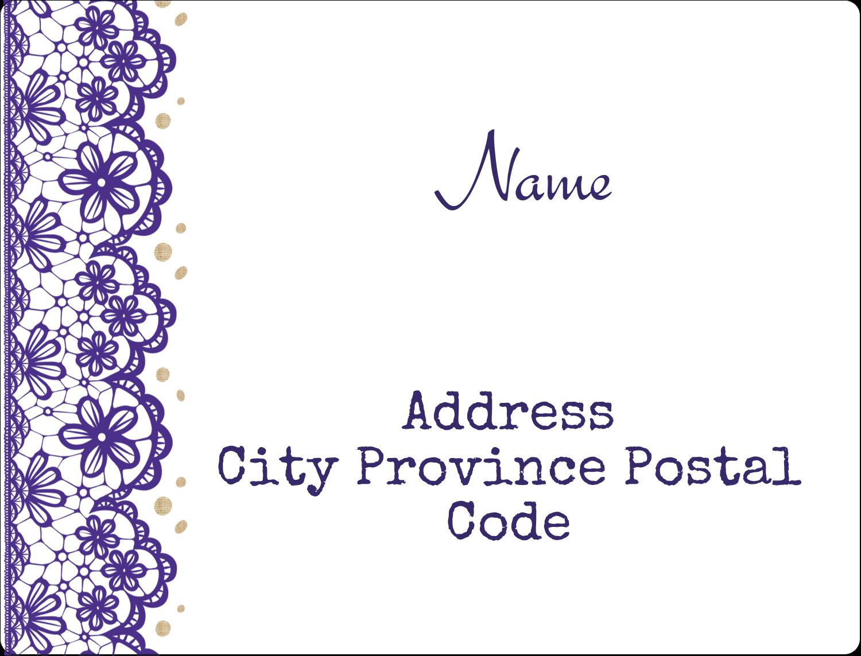 "2⅝"" x 2"" ID Label - Purple Lace Wedding"