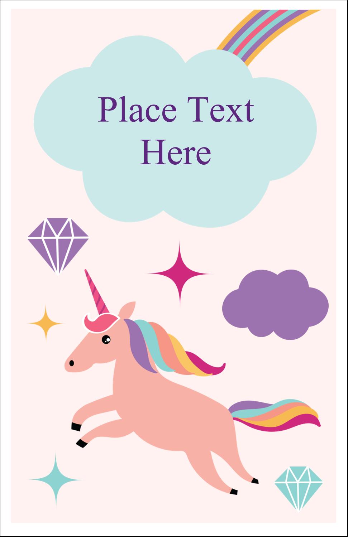 "5"" x 8½"" Half Fold Card - Unicorn Party"