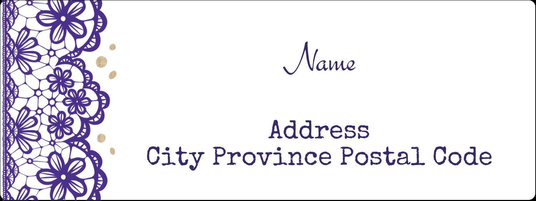 "1½"" x 4"" Address Label - Purple Lace Wedding"