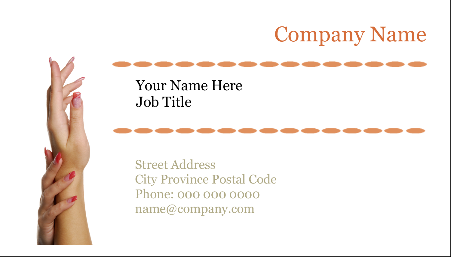 "2"" x 3½"" Business Card - Beauty Treatment"
