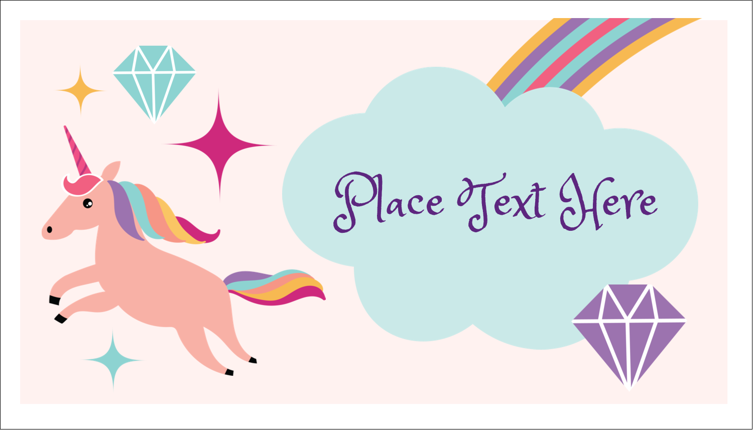 "2"" x 3½"" Business Card - Unicorn Party"