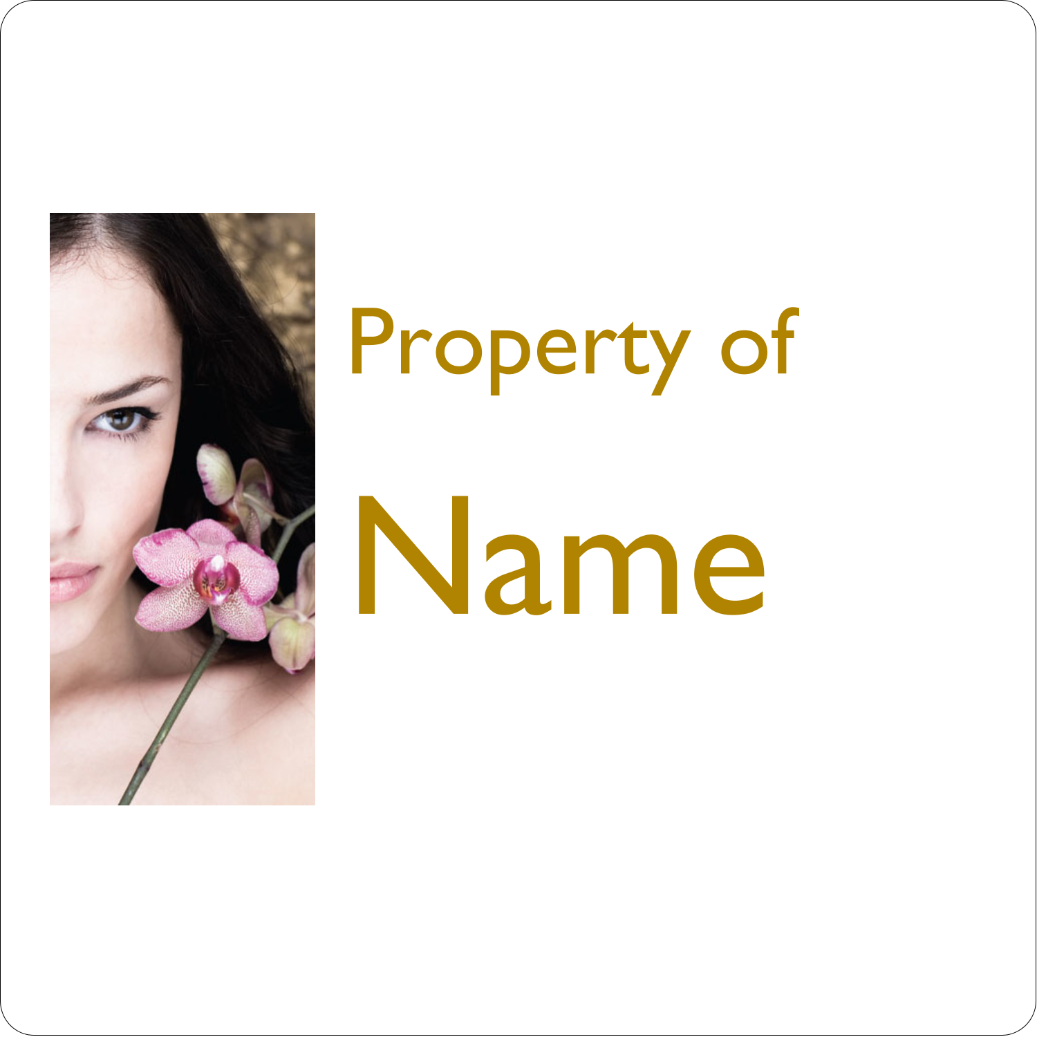 """1½"""" x 1½"""" ID Label - Beauty Orchid Woman"""
