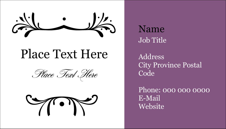 """2"""" x 3½"""" Business Card - Filigree Purple"""