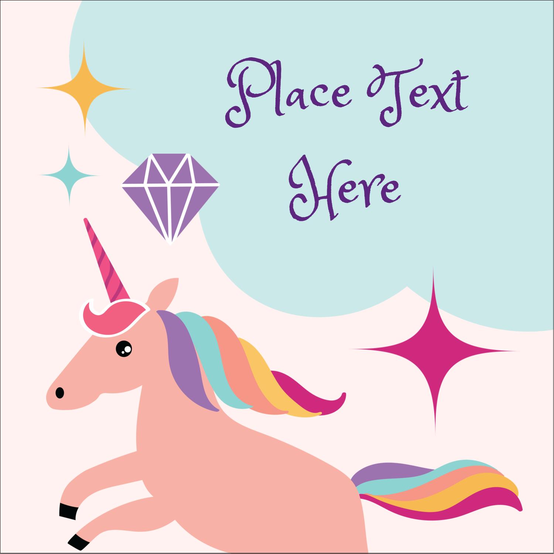 "1½"" x 1½"" Square Label - Unicorn Party"