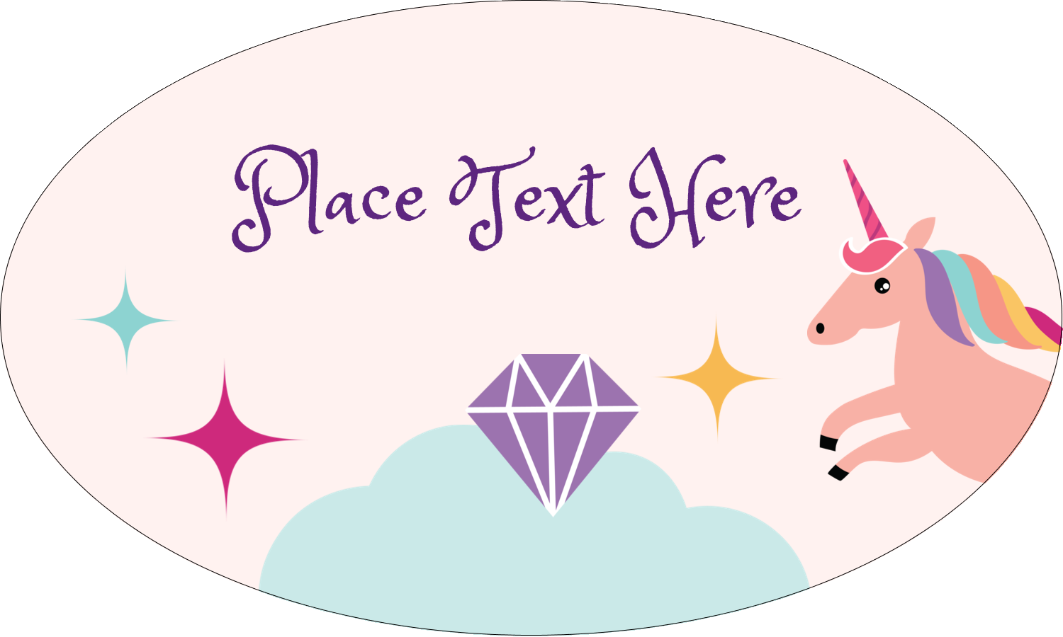 "1½"" x 2½"" Oval Glossy Label - Unicorn Party"