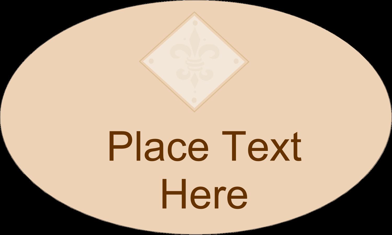 """1½"""" x 2½"""" Oval Glossy Label - Beige Diamond"""
