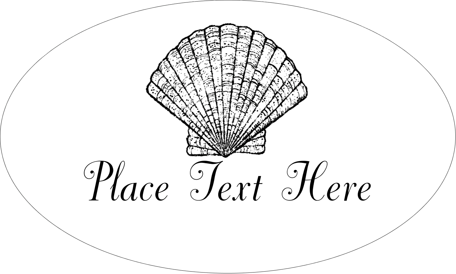 "1½"" x 2½"" Oval Glossy Label - Beach"