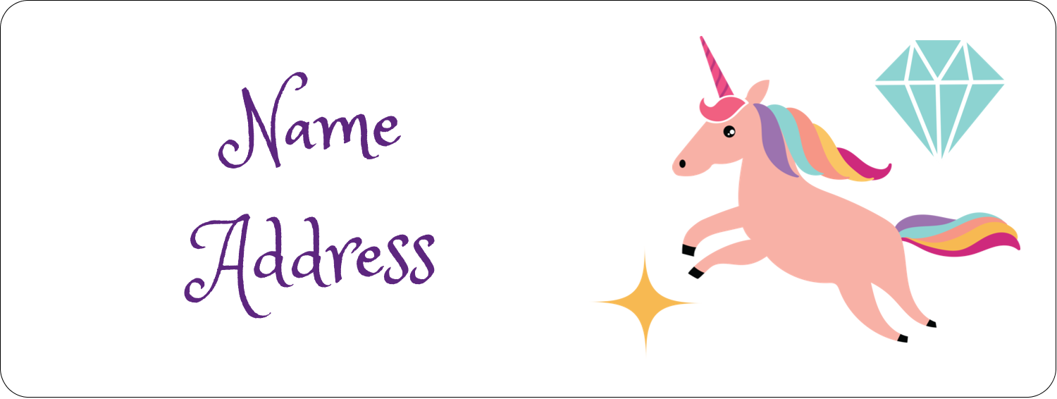 "⅔"" x 1¾"" Address Label - Unicorn Party"