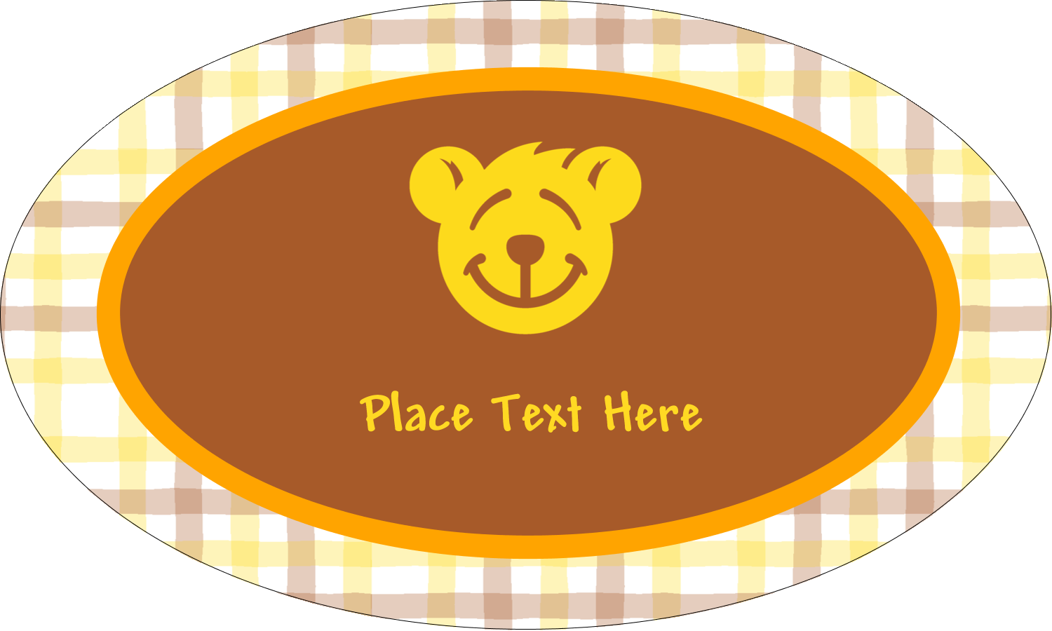 "1½"" x 2½"" Oval Glossy Label - Bear Yellow"