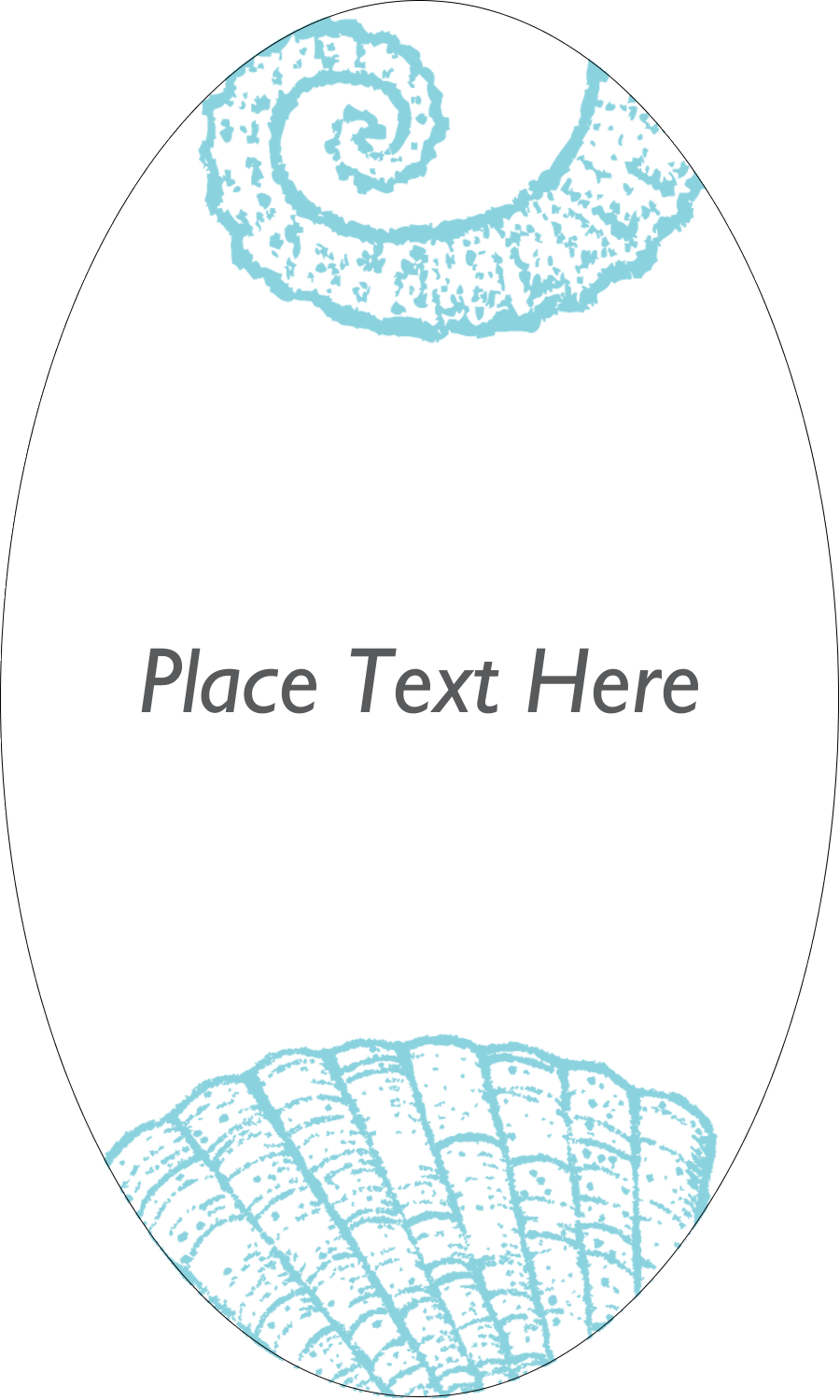"2½"" x 1½"" Oval Glossy Label - Beach Blue"