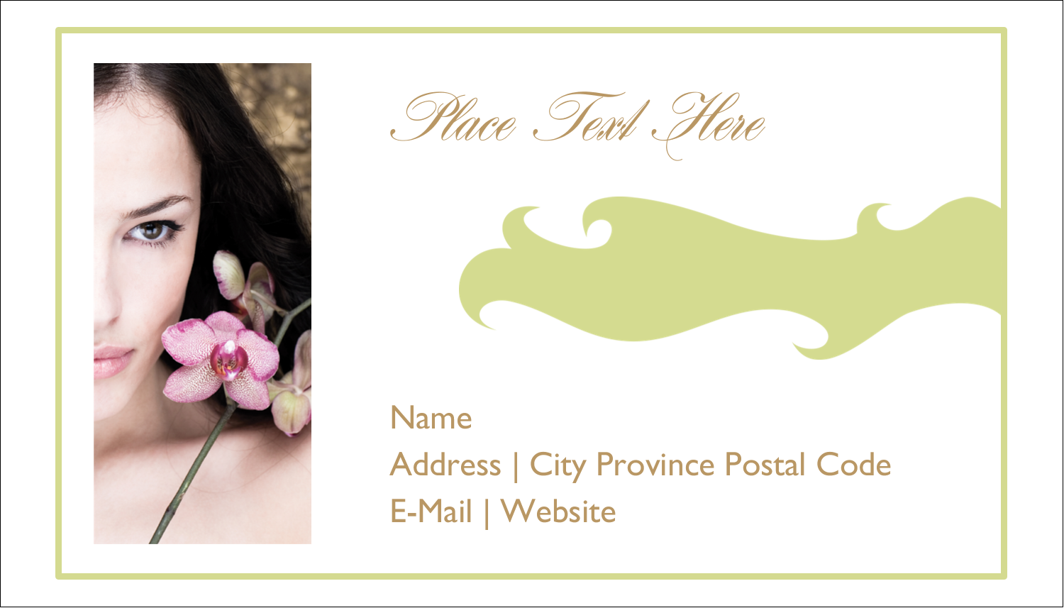 "2"" x 3½"" Business Card - Beauty Orchid Woman"