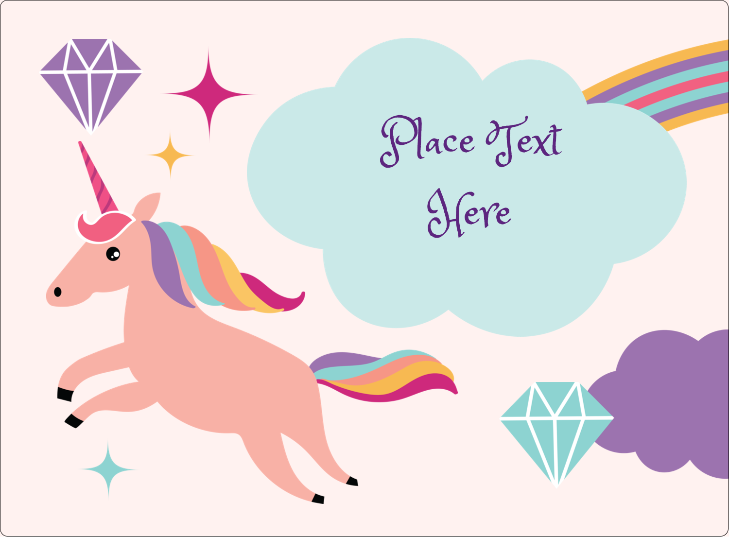 "3½"" x 4¾"" Rectangular Label - Unicorn Party"