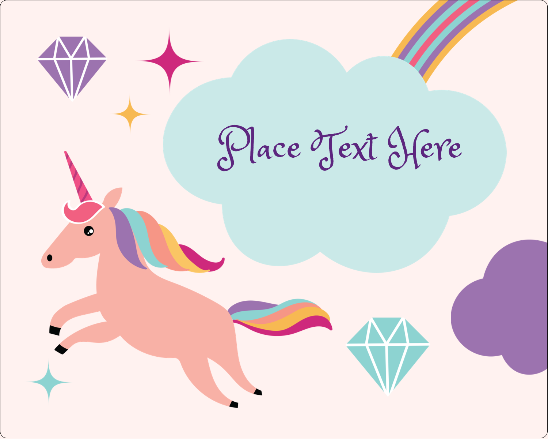 "3"" x 3¾"" Rectangular Label - Unicorn Party"