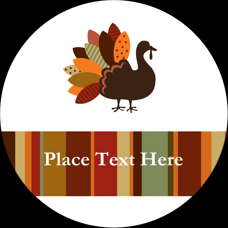 """2½"""" Round Label - Turkey Leaf"""