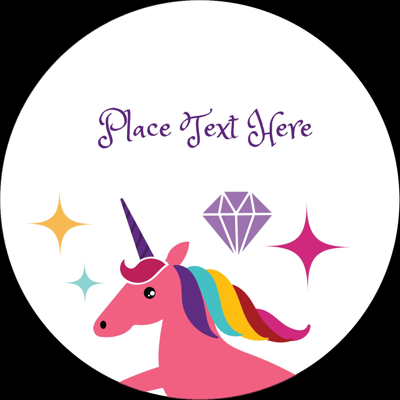 """2½"""" Round Label - Unicorn Party"""