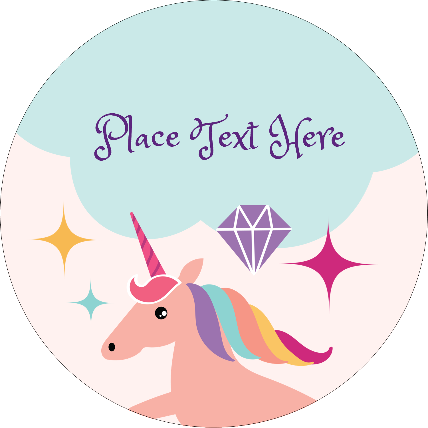 unicorn party predesigned label and card template for your. Black Bedroom Furniture Sets. Home Design Ideas