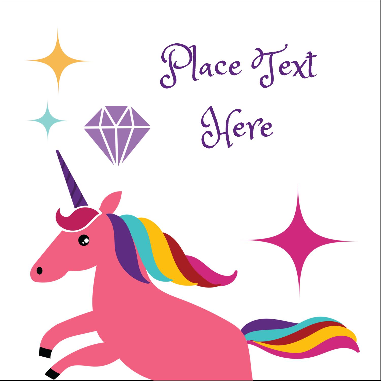 "2"" x 2"" Sqaure Label - Unicorn Party"