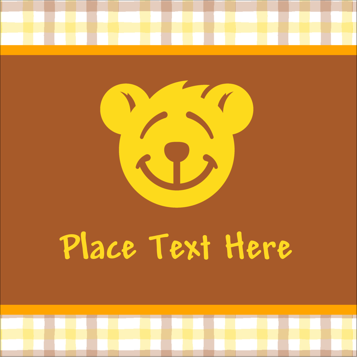"2"" x 2"" Square Label - Bear Yellow"
