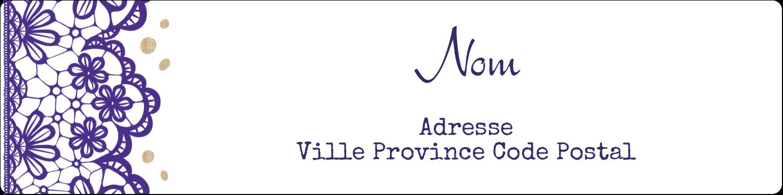 """1⅓"""" x 4"""" Étiquettes d'adresse - Mariage en dentelle violette"""
