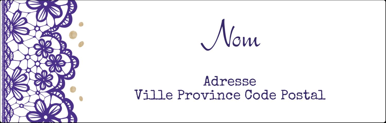 """2⅛"""" x 4"""" Étiquettes Thermiques - Mariage en dentelle violette"""