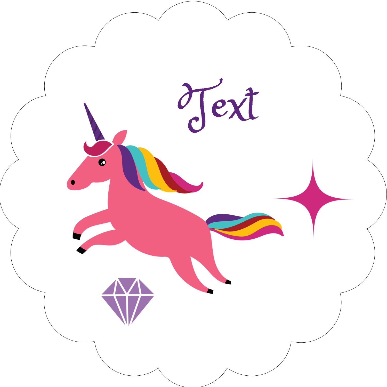 "2"" Scallop Oval Label - Unicorn Party"