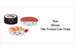 Émoticônes de sushis Étiquettes de classement écologiques - gabarit prédéfini. <br/>Utilisez notre logiciel Avery Design & Print Online pour personnaliser facilement la conception.