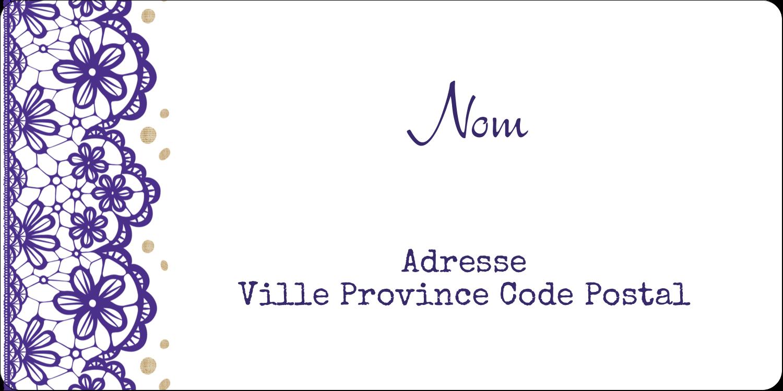 Mariage en dentelle violette Étiquettes Voyantes - gabarit prédéfini. <br/>Utilisez notre logiciel Avery Design & Print Online pour personnaliser facilement la conception.
