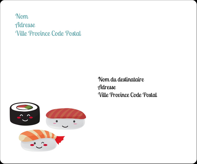 """½"""" x 1¾"""" Étiquettes D'Adresse - Émoticônes de sushis"""