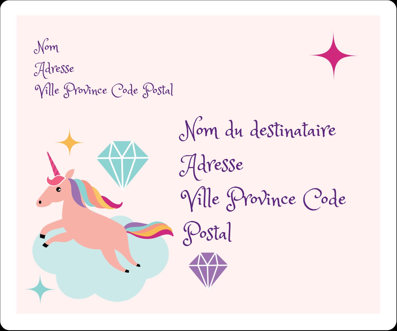 """½"""" x 1¾"""" Étiquettes D'Adresse - Licorne en fête"""
