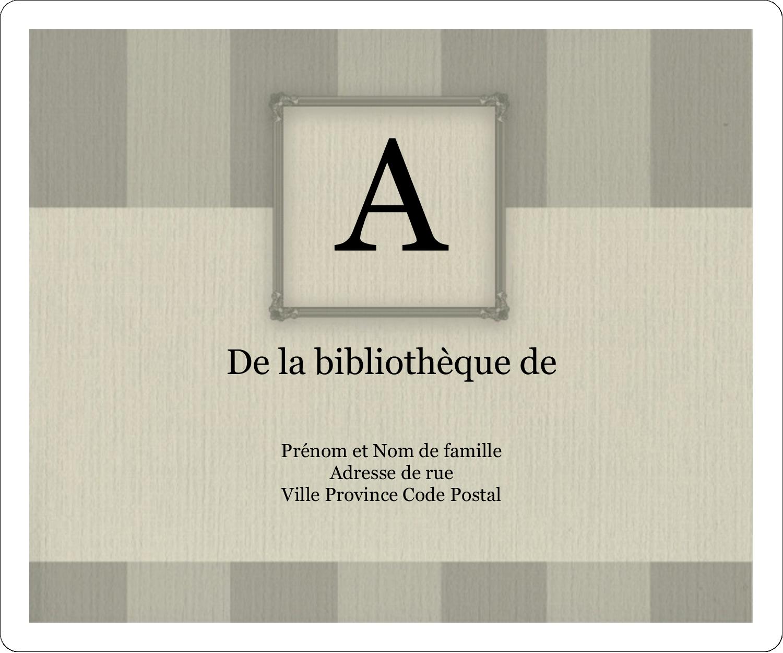 """4"""" x 3⅓"""" Étiquettes D'Identification - Initiale ex-libris"""
