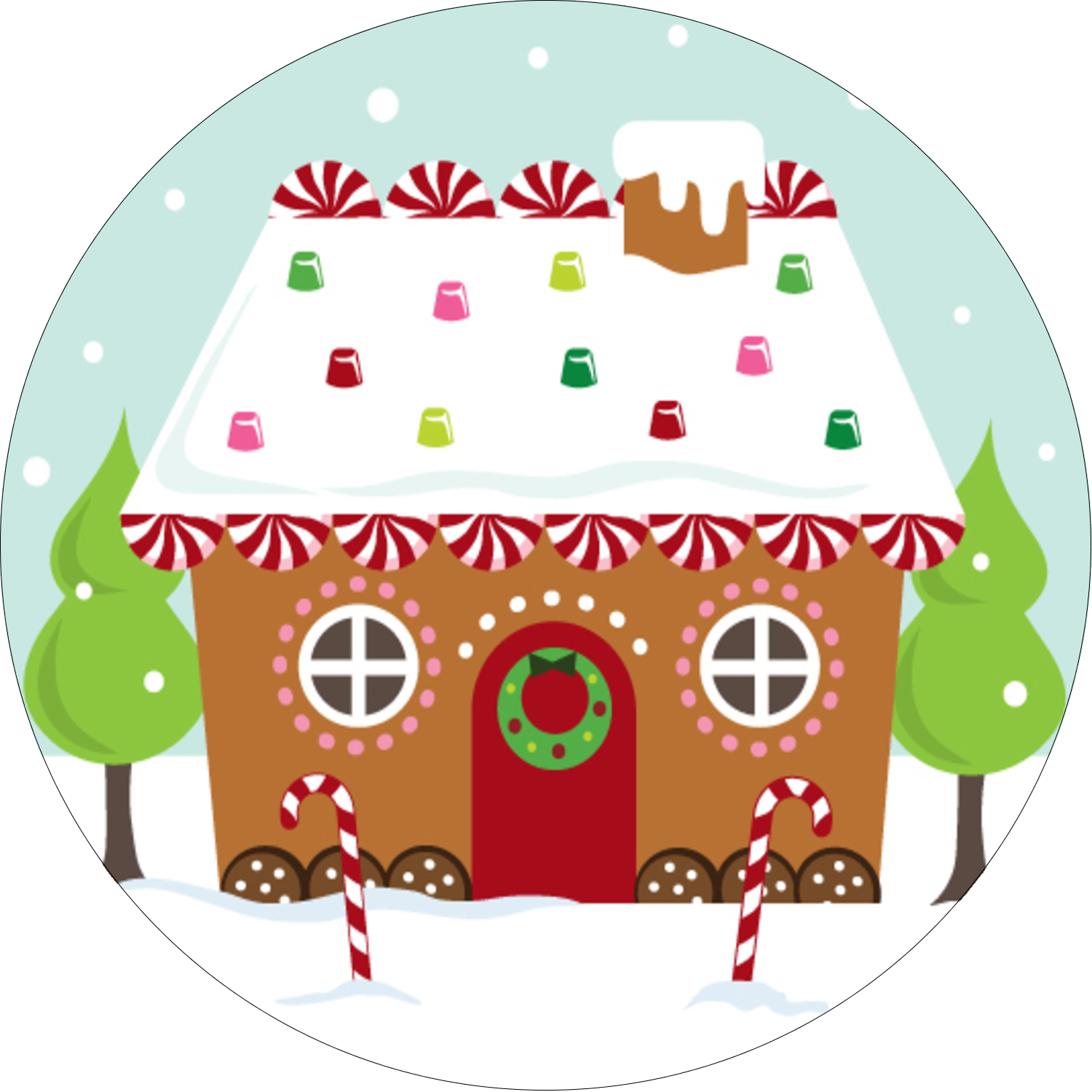 "2½"" Round Label - Gingerbread House"