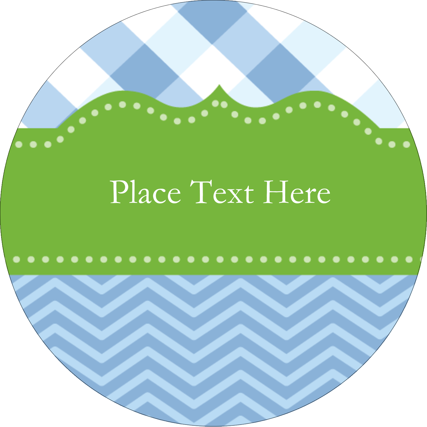 """2"""" Embossed Round Label - Green with Blue Gingham"""