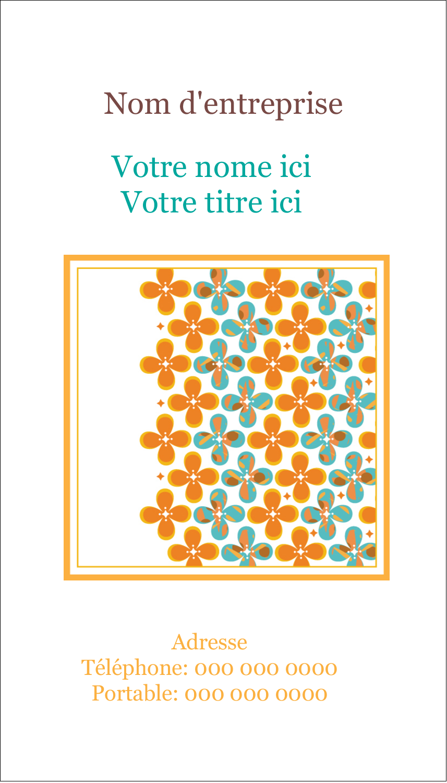 "2"" x 3½"" Carte d'affaire - Motif fleuri"