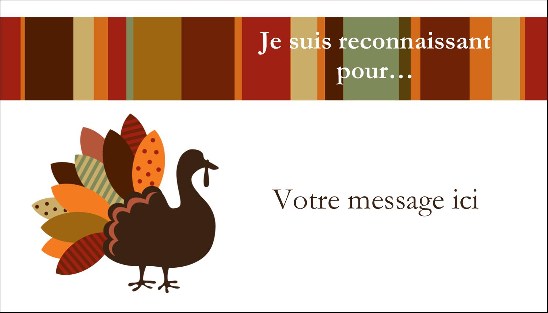 """2"""" x 3½"""" Carte d'affaire - Feuilles et dinde"""