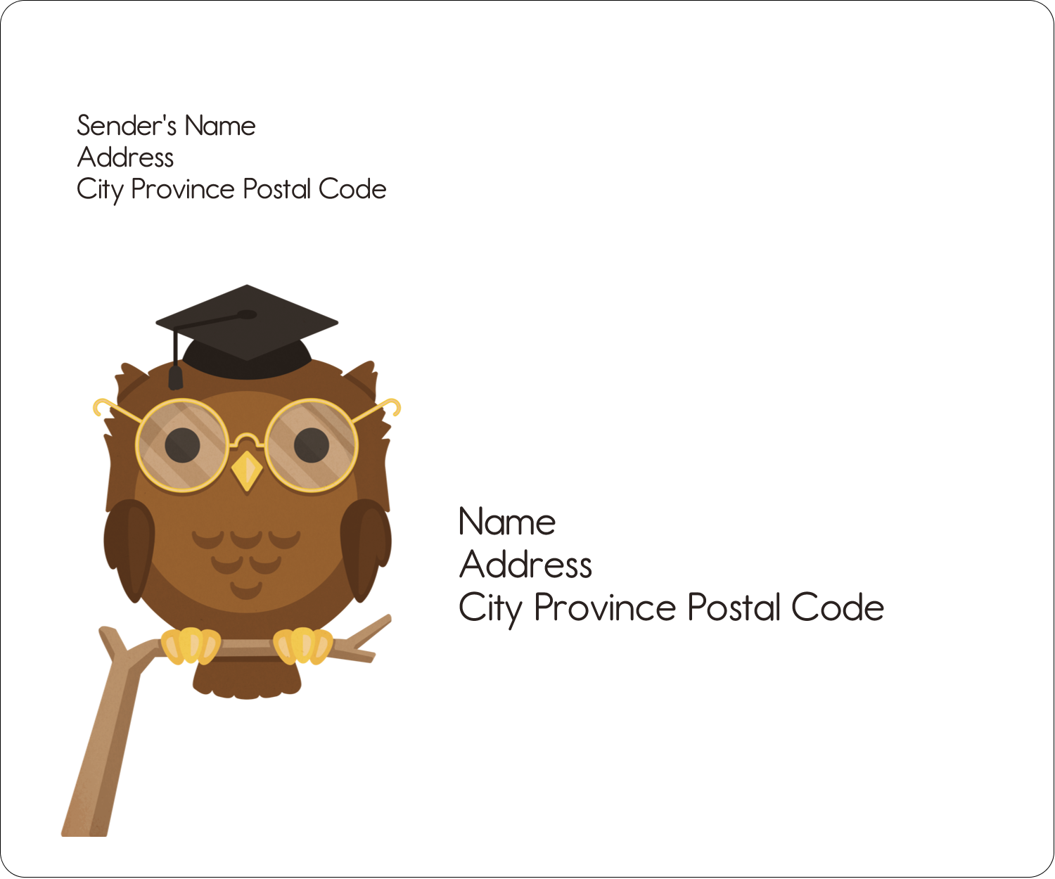 "3⅓"" x 4"" Shipping Label - Academic Owl Graduation"