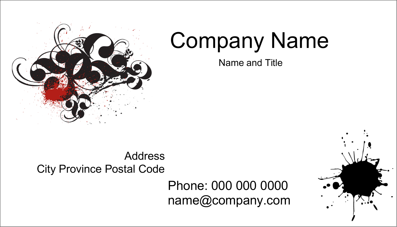 "2"" x 3½"" Business Card - Dramatic Curlicues"