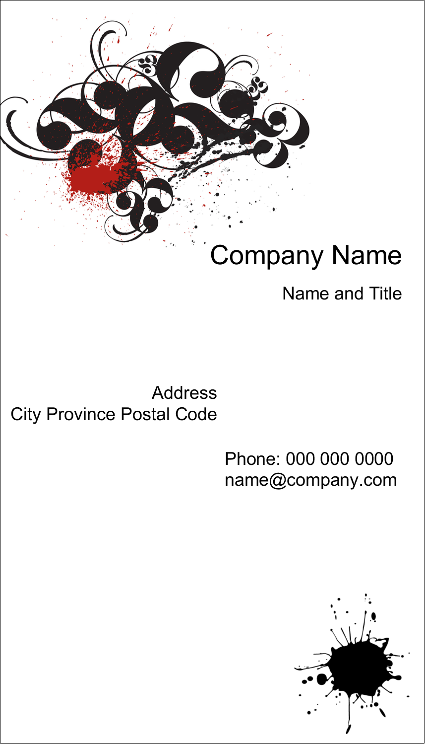 """3½"""" x 2"""" Business Card - Dramatic Curlicues"""