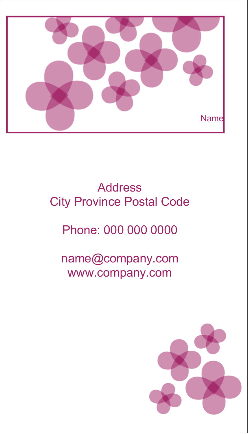 "3½"" x 2"" Business Card - Purple Blossoms"