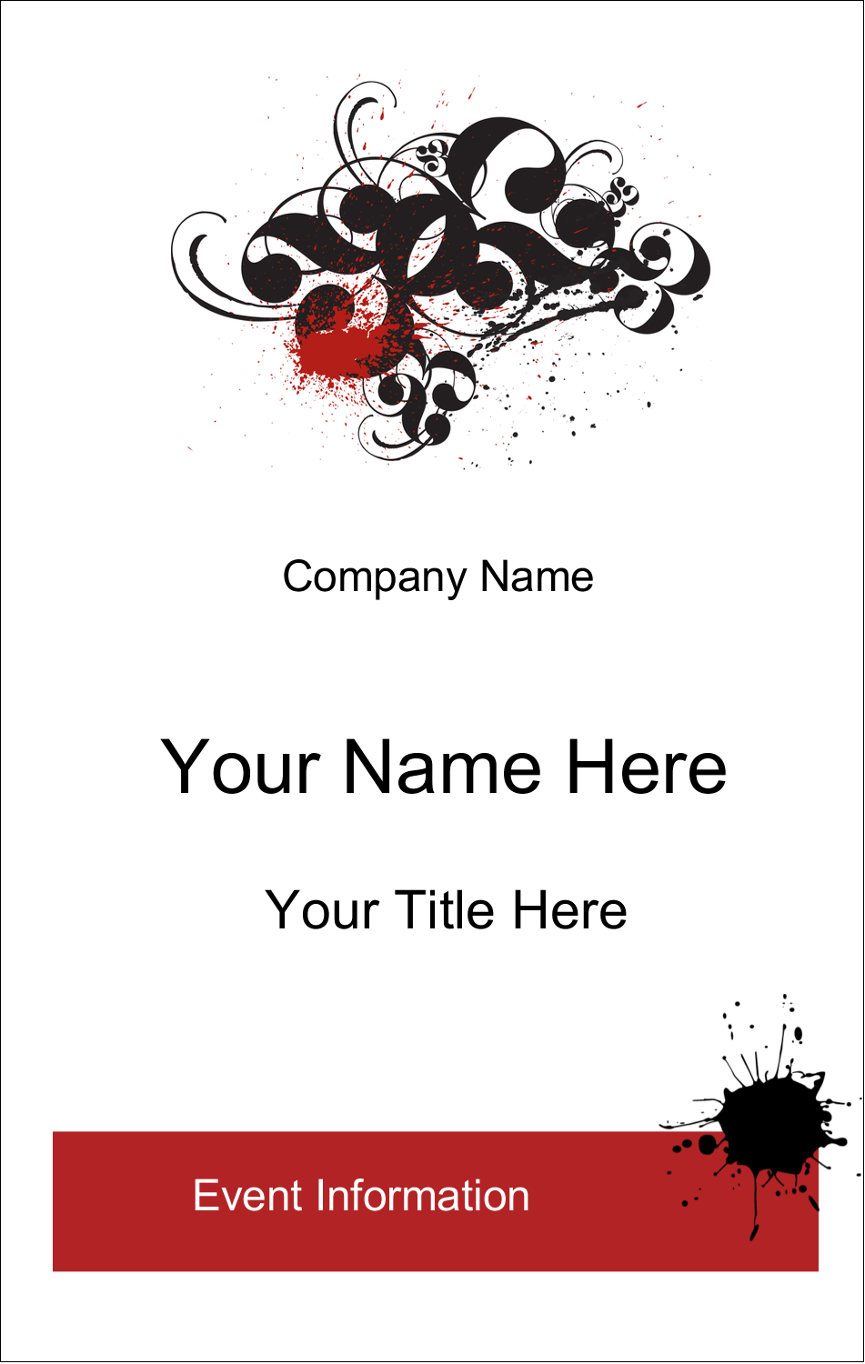 3½ x 2¼ Name Tags - Dramatic Curlicues
